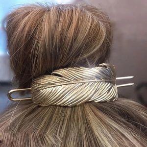 Feather Hair Pins Bun Cage